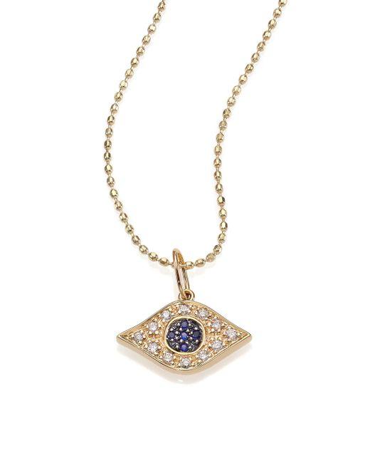 Sydney Evan | Metallic Diamond, Sapphire & 14k Yellow Gold Evil Eye Necklace | Lyst