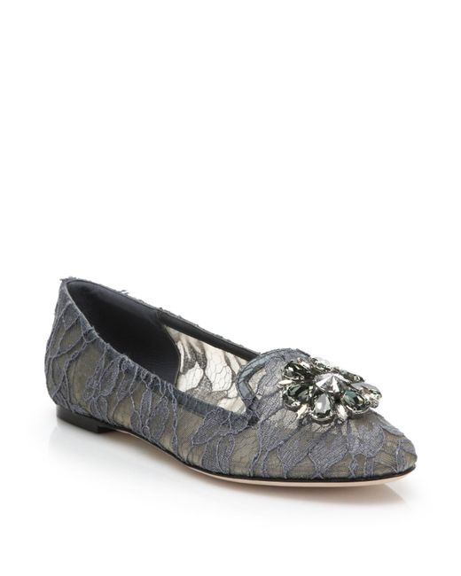 Dolce & Gabbana | Gray Embellished Lace Loafers | Lyst