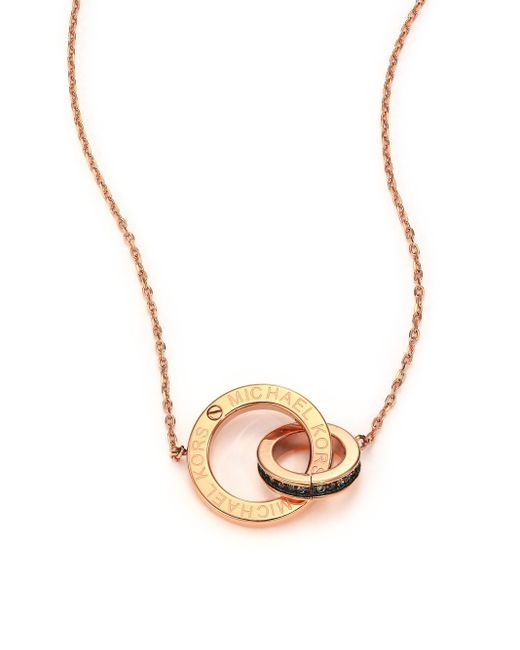 Michael Kors | Pink Heritage Logo Pave Double-ring Pendant Necklace/rose Goldtone | Lyst