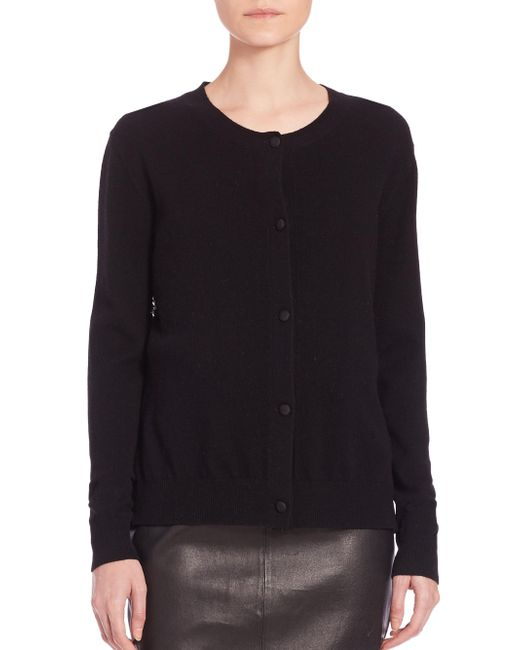Saks Fifth Avenue | Black Wool/cashmere Lace-panel Cardigan | Lyst