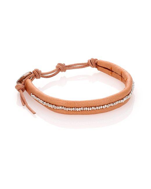 Chan Luu | Orange Sterling Silver & Leather Beaded Wrap Bracelet | Lyst