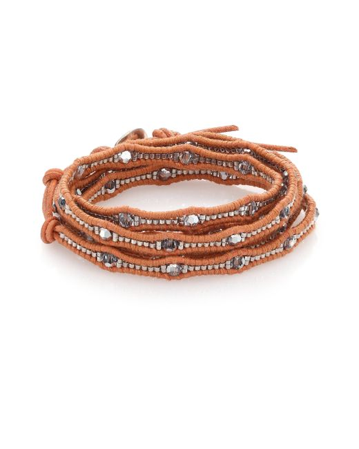 Chan Luu | Metallic Crystal & Leather Multi-row Beaded Wrap Bracelet | Lyst