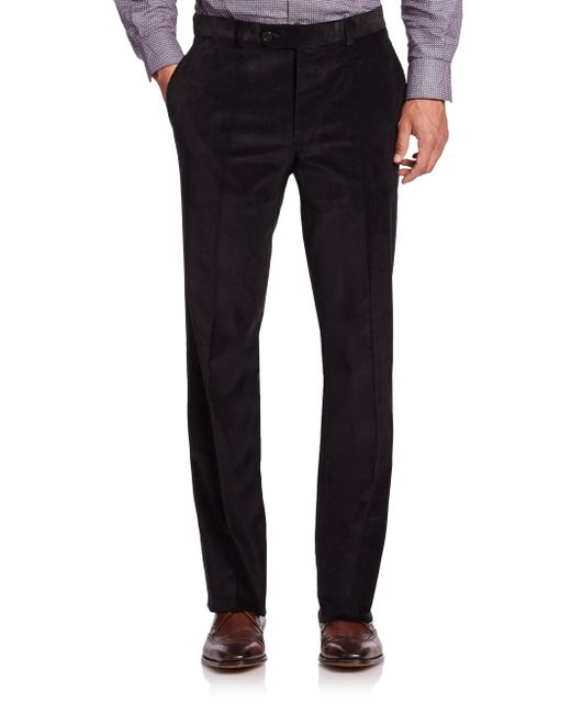 Saks Fifth Avenue | Black Flat-front Corduroy Pants for Men | Lyst