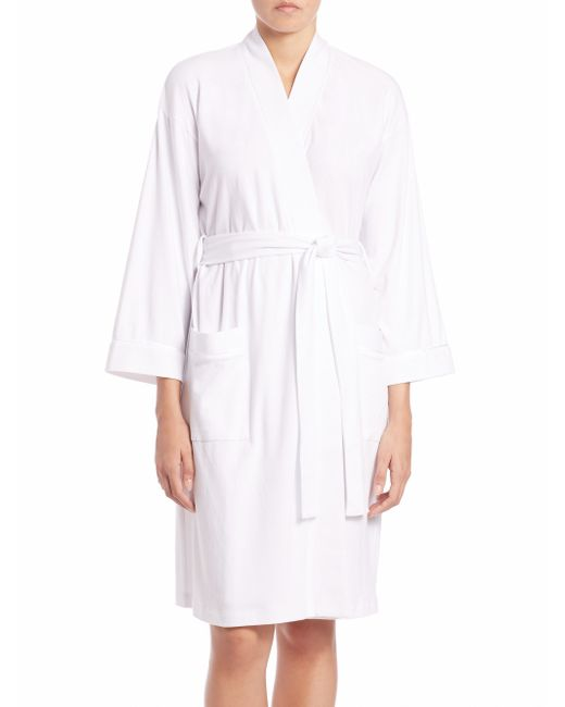 Saks Fifth Avenue | White Pima Cotton Jersey Robe | Lyst