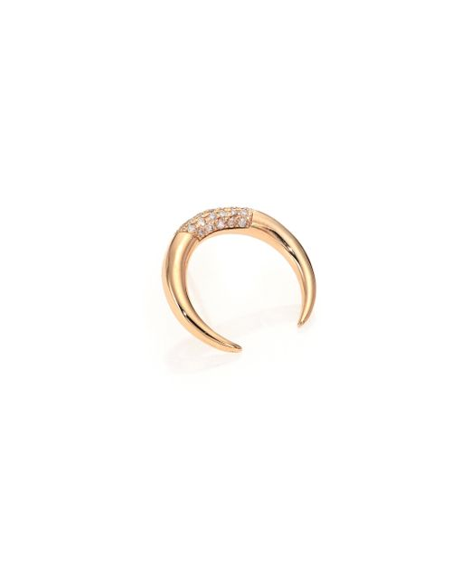 Jacquie Aiche | Metallic Diamond & 14k Yellow Gold Crescent Single Earring | Lyst
