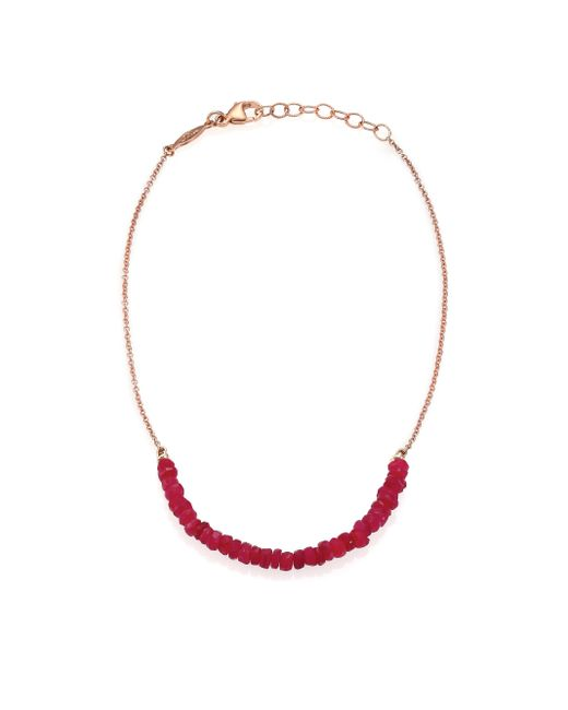 Jacquie Aiche | Pink Beaded Ruby & 14k Rose Gold Beaded Anklet | Lyst