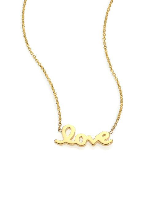 Roberto Coin | Metallic Tiny Treasures 18k Yellow Gold Love Letter Necklace | Lyst