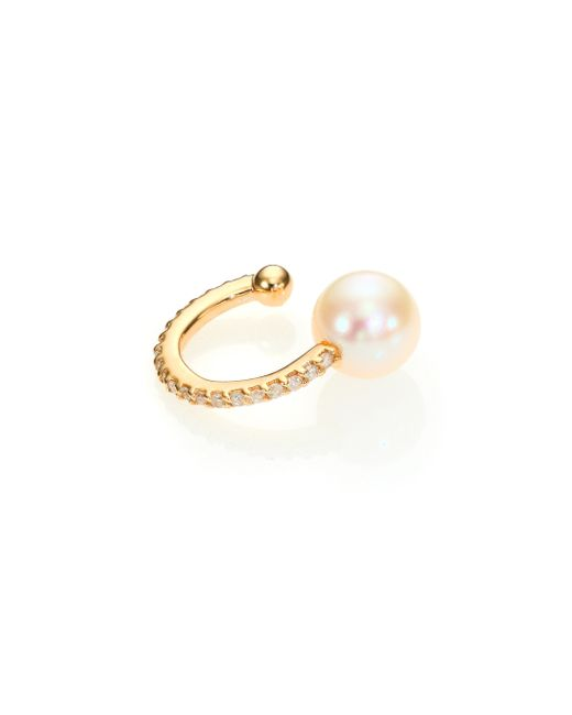 Phyne By Paige Novick | Metallic Gigi 6mm White Akoya Pearl, Diamond & 14k Yellow Gold Single Ear Cuff | Lyst