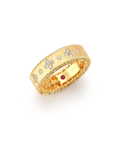 Roberto Coin | Metallic Princess Diamond & 18k Yellow Gold Band Ring | Lyst