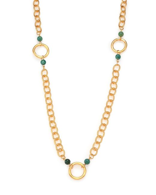 Stephanie Kantis | Metallic Infinity Green Moss Agate Beaded Station Necklace | Lyst