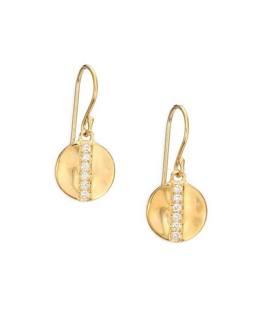 Ippolita   Metallic Glamazon Diamond & 18k Yellow Gold Mini Disc Drop Earrings   Lyst