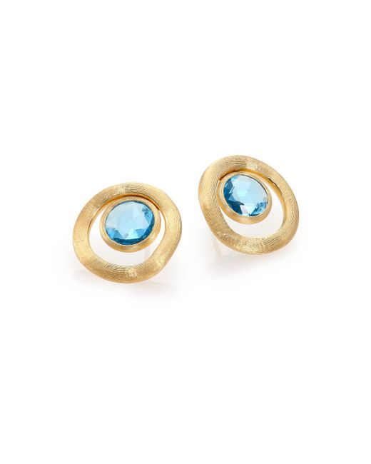 Marco Bicego | Metallic Jaipur Color Blue Topaz & 18k Yellow Gold Stud Earrings | Lyst