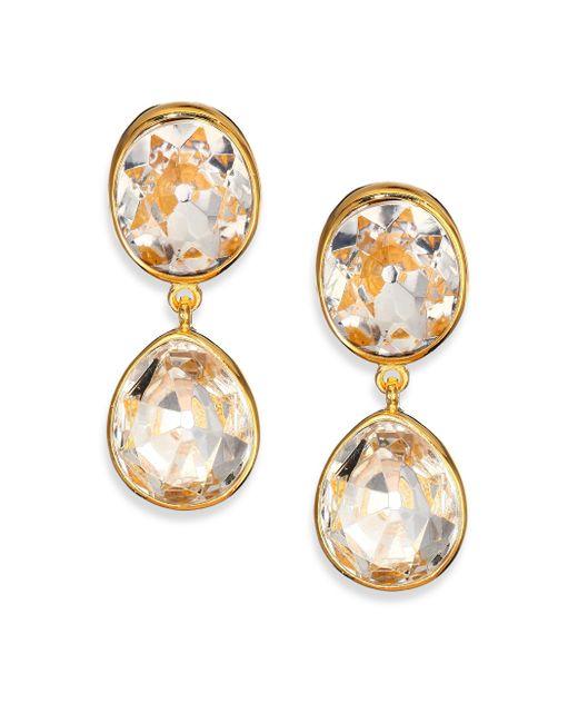 Kenneth Jay Lane   Metallic Jeweled Clip-on Drop Earrings   Lyst