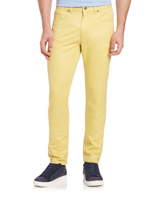 Saks Fifth Avenue | Yellow Pima Cotton Straight-leg Pants for Men | Lyst