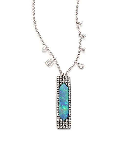 Meira T | Blue Boulder Opal, Diamond, & 14k White Gold Pendant Necklace | Lyst