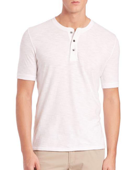 Vince   White Short-sleeve Cotton Henley for Men   Lyst