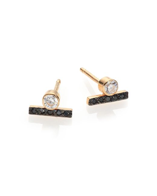 Zoe Chicco | Metallic White/black Diamond & 14k Yellow Gold Bezel Bar Stud Earrings | Lyst