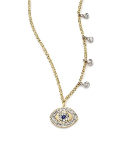 Meira T | Metallic Diamond, Blue Sapphire & 14k Yellow Gold Evil Eye Pendant Necklace | Lyst