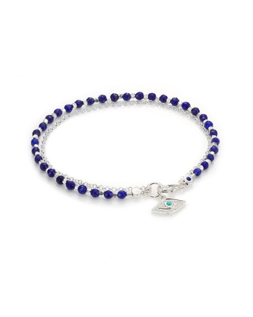 Astley Clarke | Blue Biography White Sapphire, Lapis, Turquoise & Sterling Silver Evil Eye Beaded Friendship Bracelet | Lyst