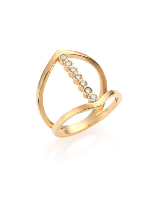 Zoe Chicco | Metallic Diamond & 14k Yellow Gold Cross Ring | Lyst