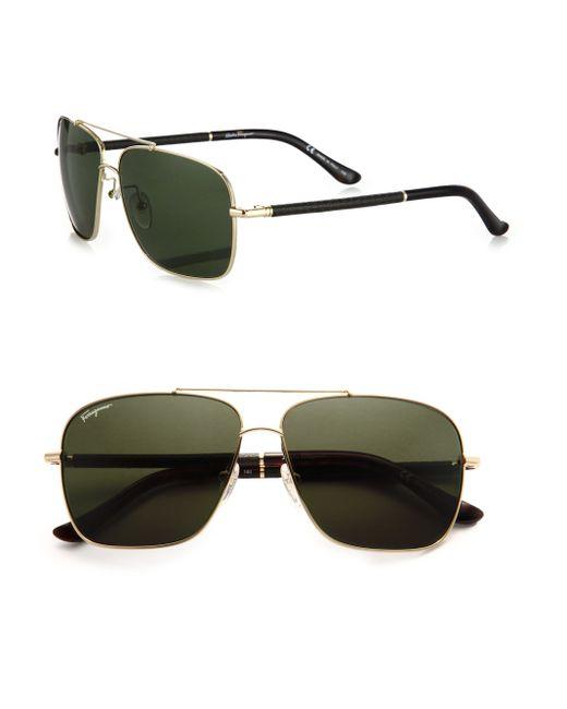 Ferragamo | Metallic Navigator Metal & Leather Sunglasses for Men | Lyst