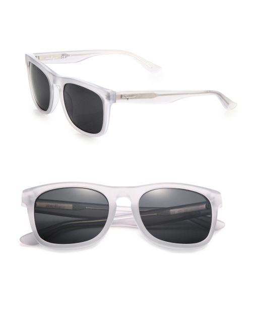 Ferragamo   White 54mm Matte Square Sunglasses for Men   Lyst