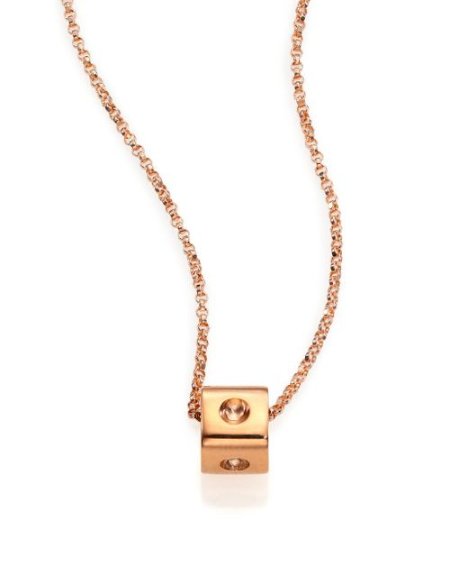 Roberto Coin | Pink Pois Moi 18k Rose Gold Mini Cube Pendant Necklace | Lyst