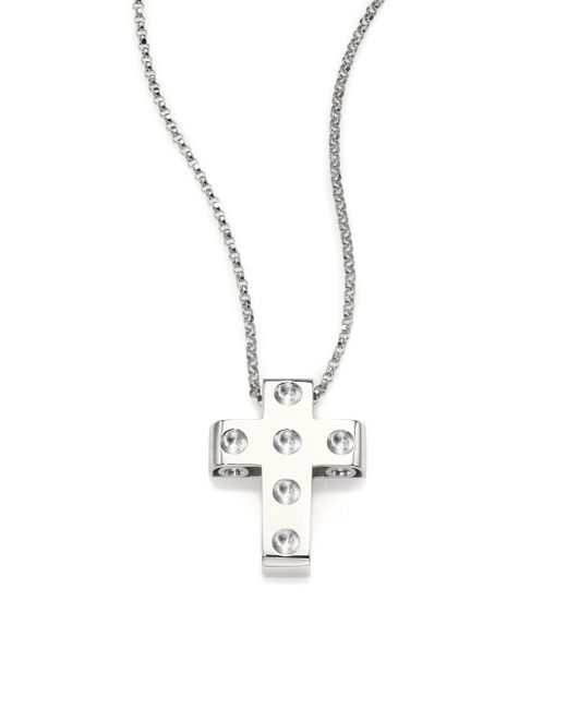 Roberto Coin | Metallic Pois Moi 18k White Gold Cross Pendant Necklace | Lyst