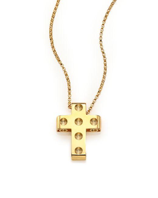 Roberto Coin | Metallic Pois Moi 18k Yellow Gold Cross Pendant Necklace | Lyst