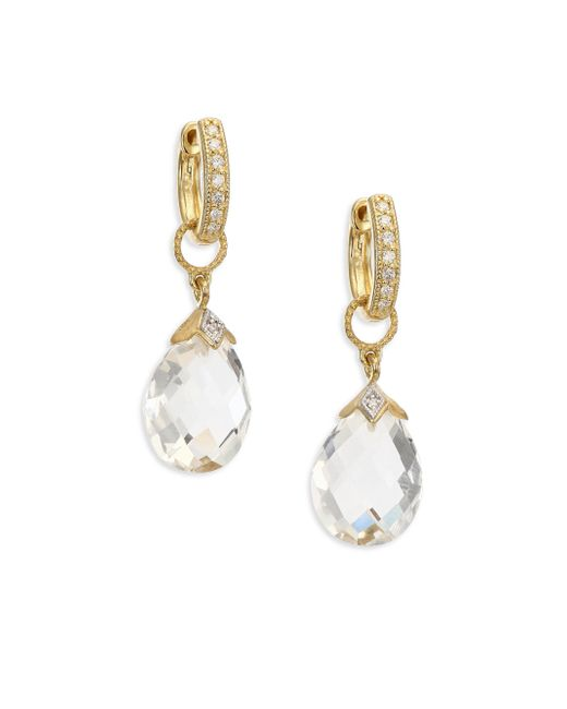 Jude Frances | Metallic Lisse White Topaz & 18k Yellow Gold Pear Briolette Earring Charms | Lyst