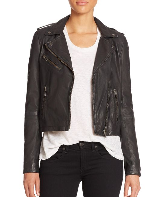 Doma Leather | Black Washed Leather Moto Jacket | Lyst