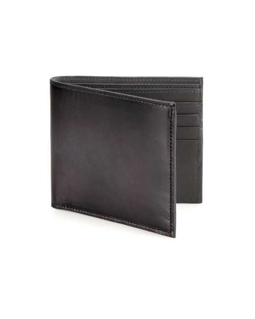 Saks Fifth Avenue | Gray Burnished Leather Bifold Wallet for Men | Lyst