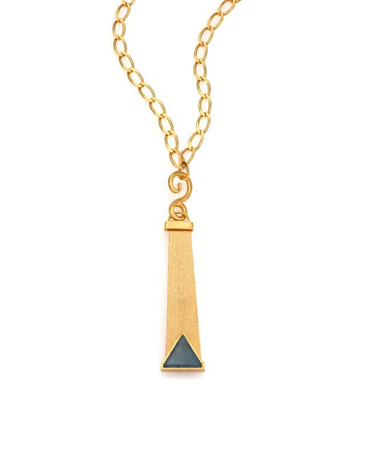 Stephanie Kantis | Metallic Pendulant Blue Tiger's Eye Pendant | Lyst