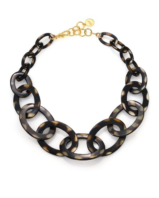 Nest | Black Graduated Spotted Horn Link Necklace | Lyst