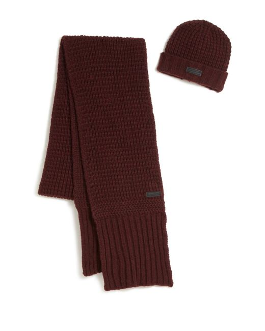 Belstaff | Red Ardleigh Beanie & Scarf Set for Men | Lyst
