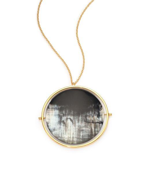 Nest | Gray Horn Disc Statement Pendant Necklace | Lyst