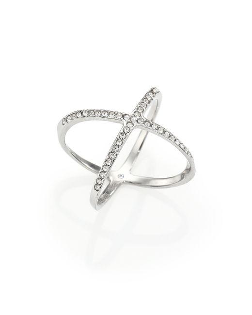 Michael Kors | Metallic Brilliance Statement Pave X Ring/silvertone | Lyst