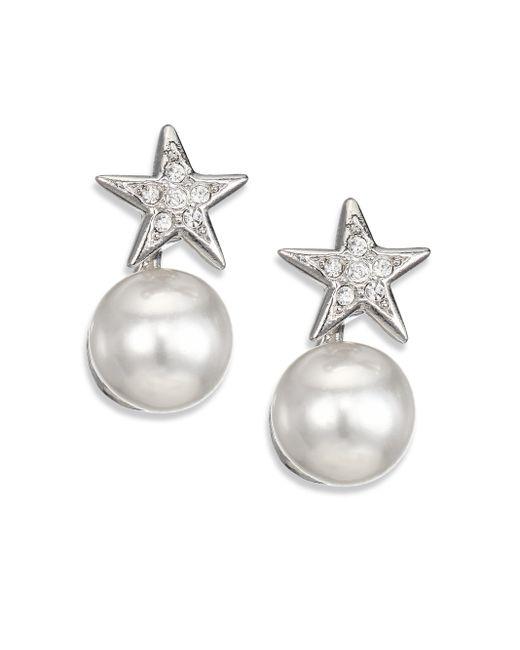 Kenneth Jay Lane | Metallic Faux Pearl & Star Earrings | Lyst