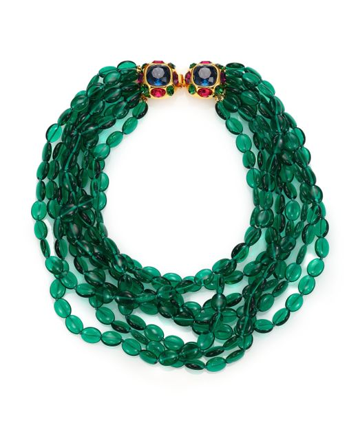 Kenneth Jay Lane | Green Multi Strand Beaded Necklace | Lyst
