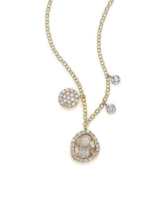Meira T   Metallic Diamond, Labradorite, 14k Yellow Gold & 14k White Gold Charm Necklace   Lyst