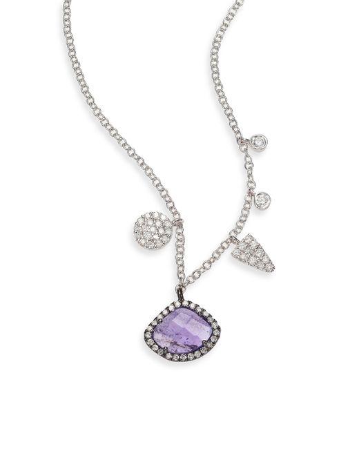 Meira T | Purple Diamond, Tanzanite & 14k White Gold Charm Necklace | Lyst