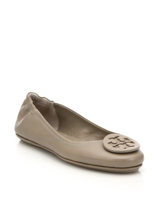 Tory Burch | Gray Minnie Travel Ballet Flat, Leather | Lyst