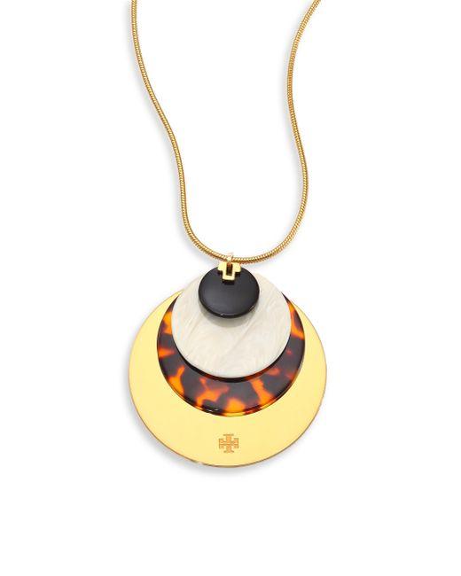Tory Burch   Metallic Disc Pendant Necklace/goldtone   Lyst