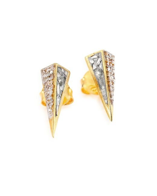 Shana Gulati | Metallic Jemma Champange Diamond Kaur Stud Earrings/goldtone | Lyst