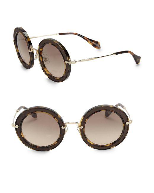 Miu Miu   Brown 49mm Round Embellished Acetate & Metal Sunglasses   Lyst