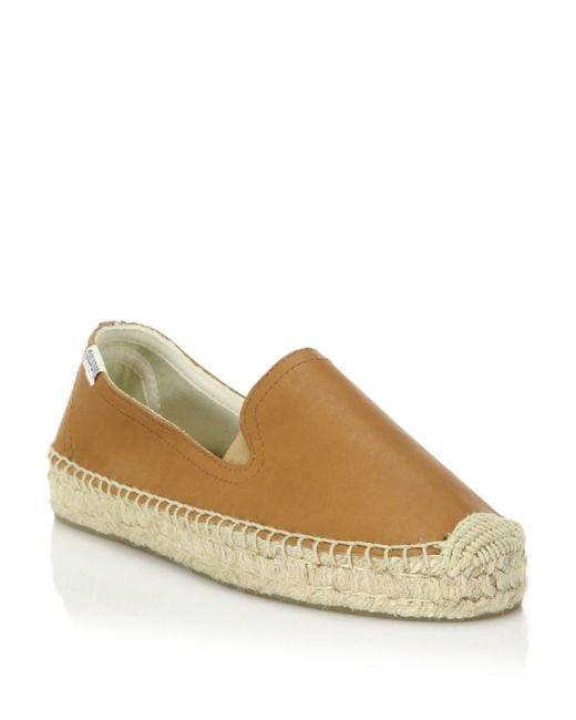 Soludos | Brown Leather Platform Smoking Slipper | Lyst