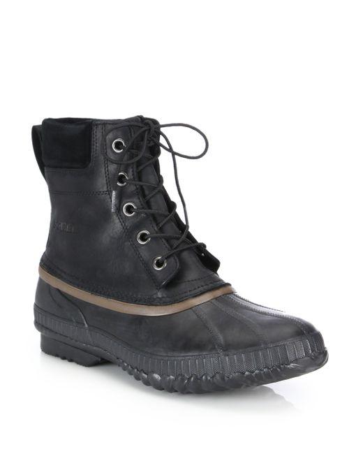 Sorel | Black Cheyanne Grain Leather Boots for Men | Lyst