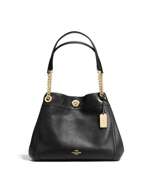 COACH | Black Edie Turnlock Leather Shoulder Bag | Lyst