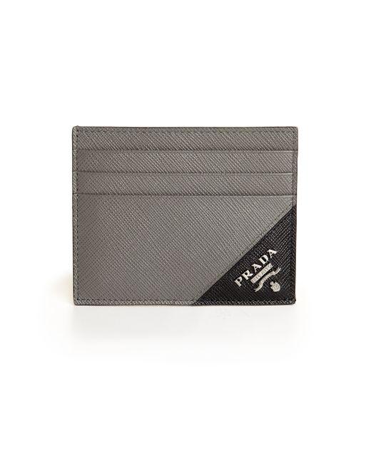 Prada   Gray Leather Card Case   Lyst
