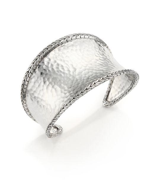John Hardy | Metallic Classic Chain Hammered Sterling Silver Cuff Bracelet | Lyst